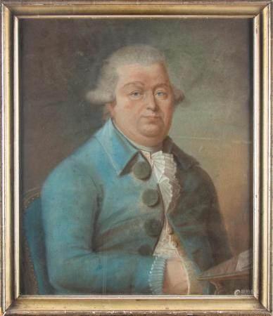 ECOLE FRANCAISE de la fin du  XVIIIePortrait d'homme en habit bleuPastel57 x 49 cm