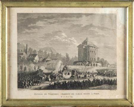 Ensemble de deux gravures en noir et blanc représentant le retour de Varennes par Jean DUPLESSI