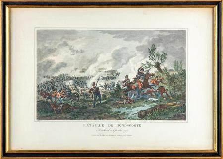 Deux gravures encadrées en coul illustrant la Bataille de Fontenoy