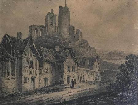 École ALLEMANDE (?) du XIXePaysage de village avec forteresse en ruinesDessin au crayon sur pap