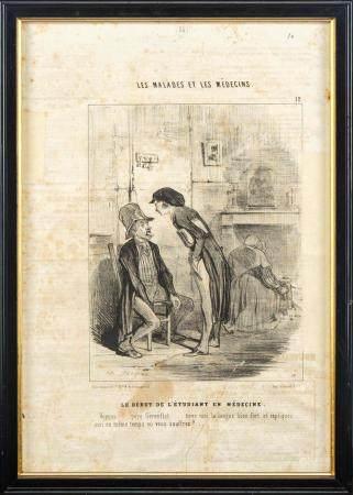 Suite de quatre lithogravies en noir et blanc tirées du Charivari : Les malades et le médecinEn