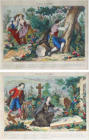 Deux images d'Épinal illustrant le roman de M. le chevalier de Florian : Estelle et NémorinÉdit