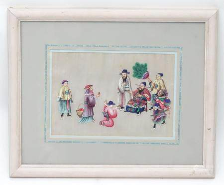 A Chinese painting on rice paper depicting figures offering mandarins / oranges to an imperial