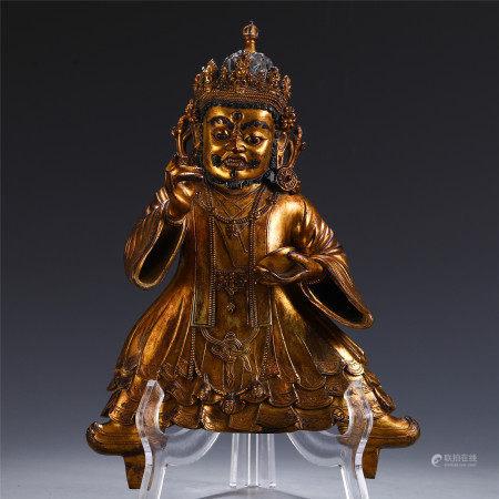 CHINESE BRONZE GILT OF BUDDHA WITH CORONET