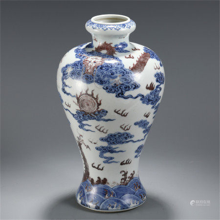 CHINESE BLUE AND WHITE UNDER GLAZED RED DRAGON PATTERN VASE