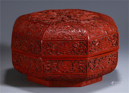 CHINESE CINNABAR CARVED DRAGON PATTERN OCTAGONAL BOX AND COVER
