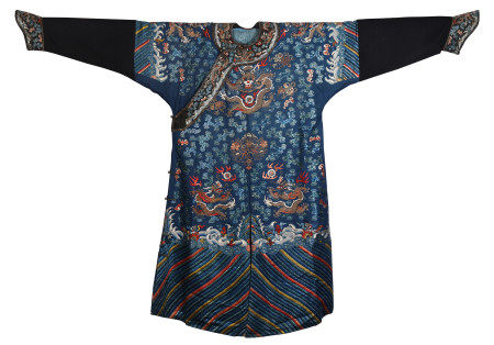 CHINESE BLUE GROUND SILK GOLD FILIGREE EMBROIDERY DRAGON ROBE