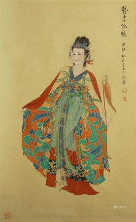 CHINESE PAINTING OF BEAUTY FIGURE BY ZHANG DAQIAN