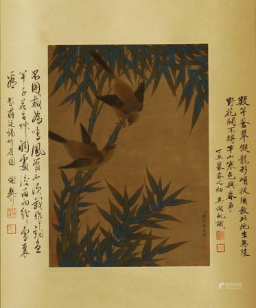 CHINESE PAINTING OF MAGPIES ON BAMBOOS BY JIANG TINGXI