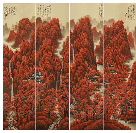 FOUR PANELS OF CHINESE SCROLL PAINTING MAPLE LEAVES IN MOUNTAINS BY LI KERAN