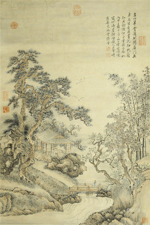 CHINESE PAINTING OF SCHOLAR'S IN MOUNTIAN LANDSCAPE