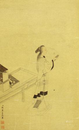 CHINESE PAINTING OF BEAUTY FIGURE BY JIAO BINGZHEN