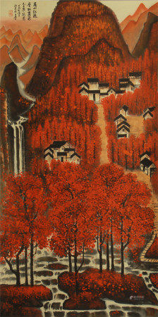 CHINESE PAINTING OF MAPLE LEAVES IN MOUNTAIN BY LI KERAN