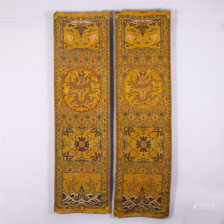 PAIR OF CHINESE COLOURFUL SILK CHAIR COVER WITH DRAGON PHOENIX PATTERN