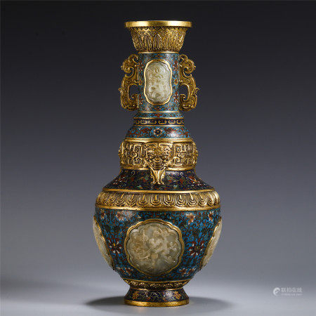 CHINESE CLOISONNE INLAID JADE CARVED DOUBLE HANDLE VASE