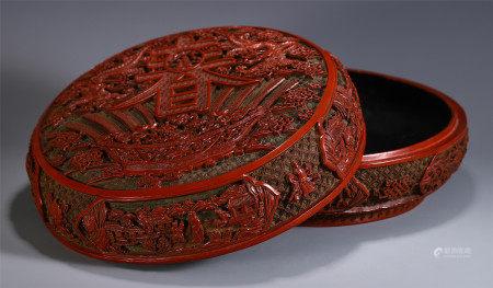 CHINESE CINNABAR LIDDED BOX CARVED DRAGON PATTERN