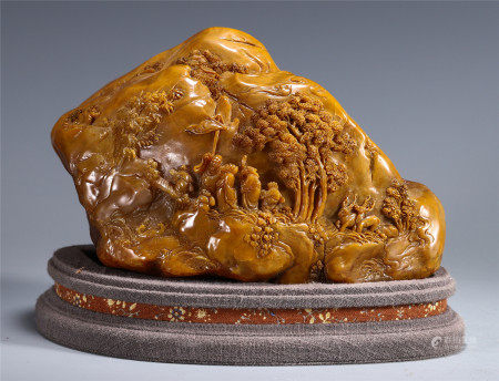 CHINESE TIANHUANG TABLE ITEM CARVED WITH EIGHT IMMORTALS IN MOUNTAIN