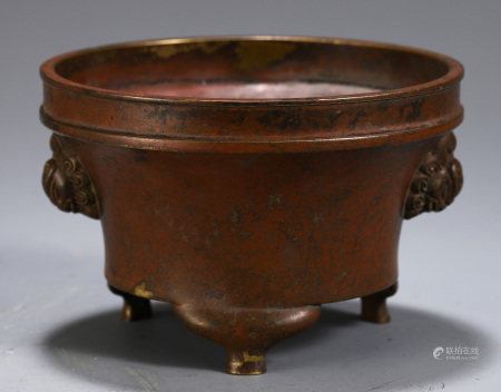 CHINESE BRONZE TRIPLE FOOT DOUBLE BEAST HANDLE CENSER