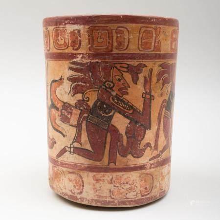 Mayan Polychrome Pottery Cylinder Vessel
