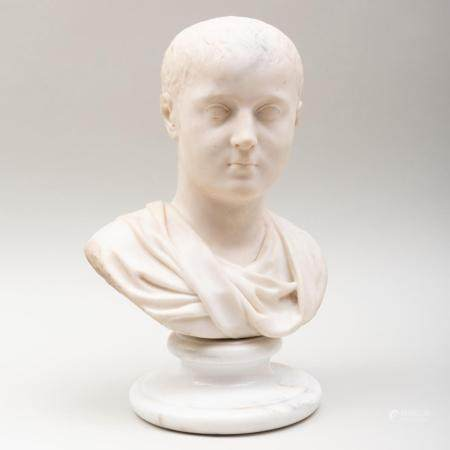 Roman Carved Marble Bust of a Boy