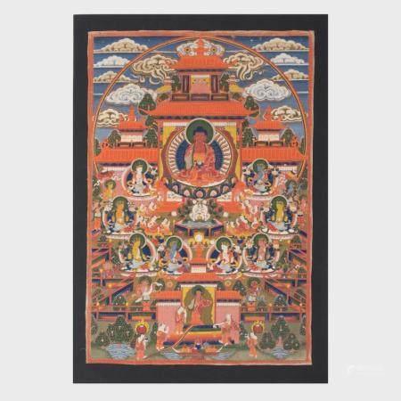 Three Tibetan Thangkas Depicting Padmasabhava, Avalokiteshva