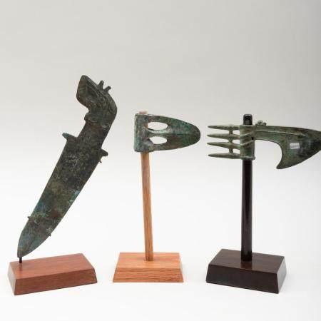 Luristan Bronze Axe Blade, a Luristan Bronze Slotted Axe, an
