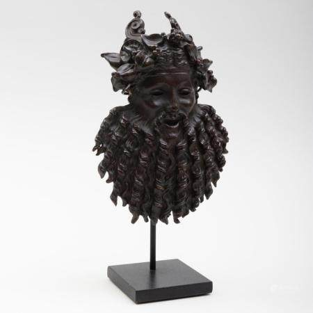 French Bronze Bacchus Mask, After the Antique