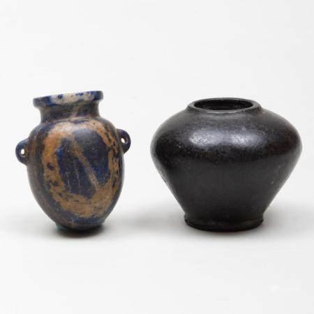Small Egyptian Stone Cosmetic Jar and a Lapis Lazuli Amphori