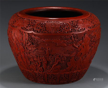A CHINESE CINNABAR CARVED FIGURE AND STORY JAR