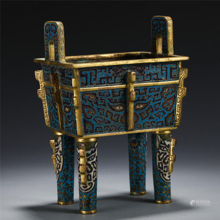 A CHINESE CLOISONNE FOUR FEET DOUBLE HANDLE BEAST PATTERN CENSER