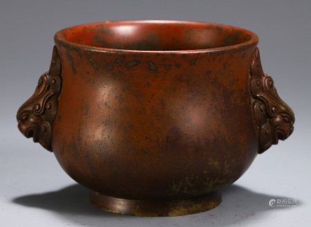 A CHINESE DOUBLE BEAST HANDLE BRONZE CENSER
