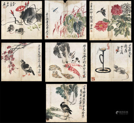 SEVEN PAGES OF CHINESE HANDWRITTEN PAINTING ARTTRIBUTE TO QI BAISHI
