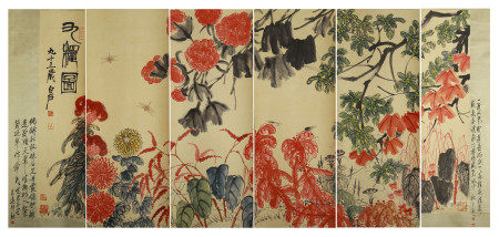 SIX PANELS OF CHINESE SCROLL PAINTING FLOWERS BY QI BAISHI
