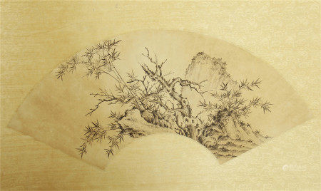 A CHINESE FAN SECTOR SHAPE PAINTING OF BAMBOO PLUM AND STONE