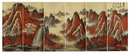 SIX PANELS OF CHINESE SCROLL PAINTING MOUNTAINS BY LI KERAN