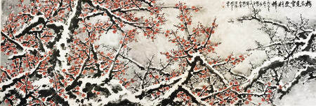 A CHINESE HUGE PAINTING PLUM BLOSSOM BY GUANSHANYUE