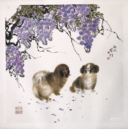 A CHINESE SCROLL PAINTING OF DOGS BY FANG CHUXIONG