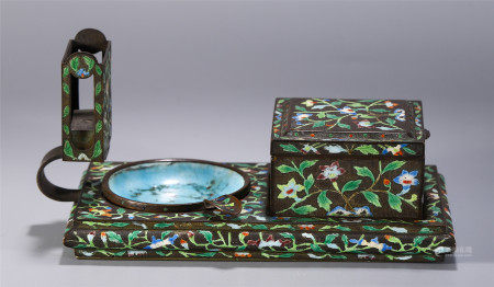 A SET OF CHINESE ENAMELING SCHOLAR'S OBJECTS