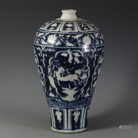 A CHINESE BLUE AND WHITE PHOENIX PATTERN MEIPING VASE
