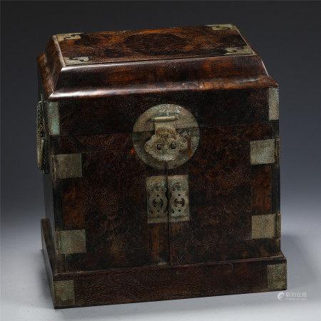 A CHINESE ZITAN TREASURE BOX