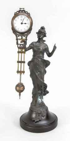 Mysterieuse, 20. Jh., bez. Junghans, Messing bronziert, einfaches Uhrwerk mit Gegenpendel,Uhrwerk