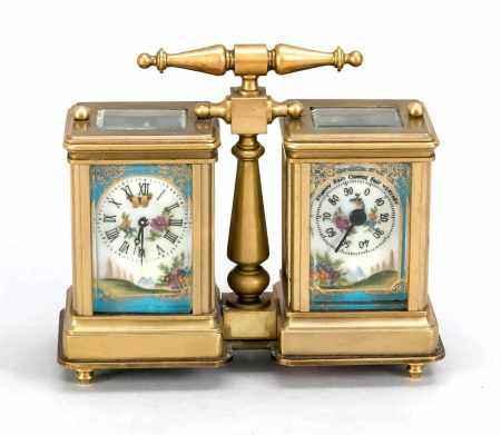 Kleine Tischuhr mit Barometer, 20. Jh., bez. 'Hands', vergoldetes Messinggehäuse allseitigfacettiert