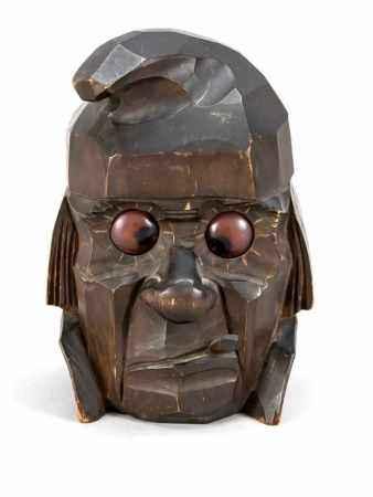 Tischuhr, Holz geschnitzt, seltene Ausführung nach einem amerikanischen Patent von 1925,mit Augen,