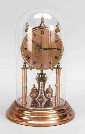 Drehpendeluhr unter Glassturz, bronzefarben, mit röm. Ziffern, mechanisch, ber., Uhrwerkläuft an, D.