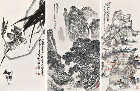 韓天衡(b.1940)、陸元鼎(1908-1998)、朱恒(b.1916)、蔣義海(b.1940)、吳雍(b.1951)、張阿傑(現當代) 山水、花鳥等七幅