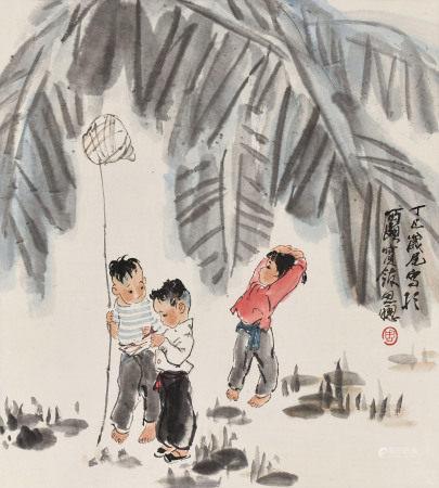 周思聰(1939~1996)捕蟬圖