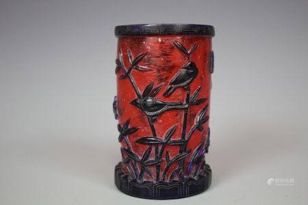 A Red Lacquered Brush Pot, Qing Style