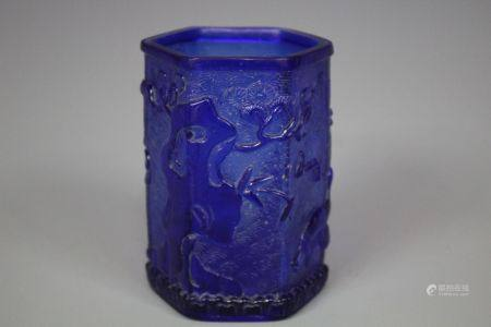 A Blue Peking Glass Brush Pot, Qing Style