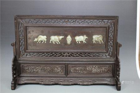 A Hetian Jade Inset Hongmu Panel, Qing Style