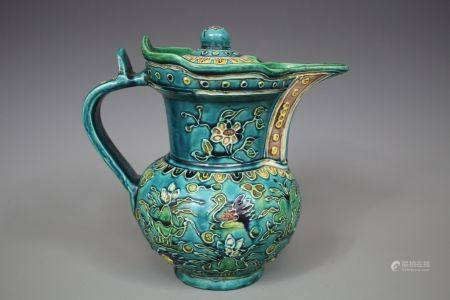 A Green-Ground Famille Ewer With Cover, Ming Style